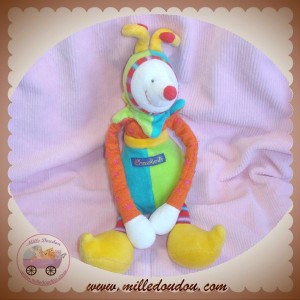 MOULIN ROTY DOUDOU CLOWN DRAGOBERT HOCHET VERT BLEU SOS